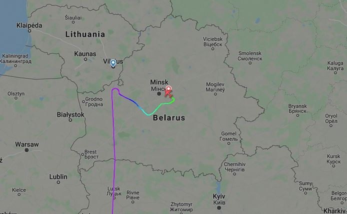 De naar Minsk omgeleide Ryanairvlucht FR4978 Athene-Vilnius.