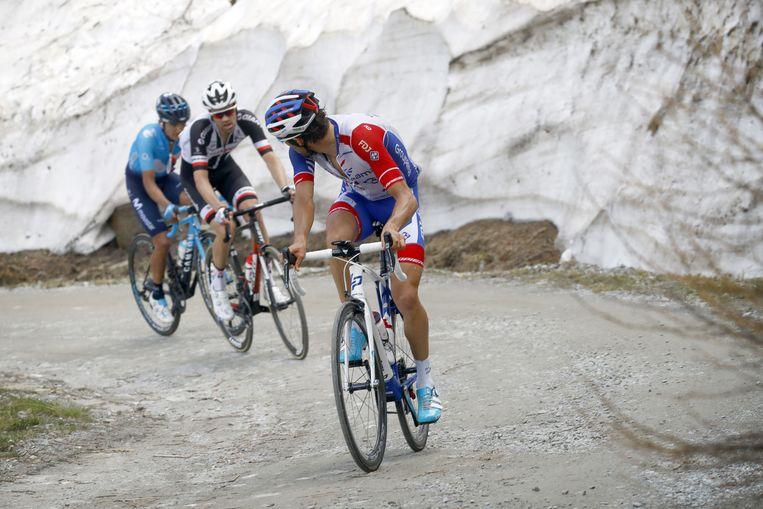 Tom Dumoulin tijdens de Ronde van Italië 2018 (19e etappe). Beeld Cor Vos