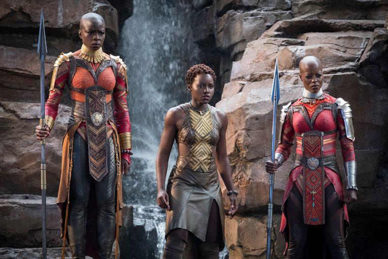 Okoye (Danai Gurira), Nakia (Lupita Nyong'o) en Ayo (Florence Kasumba). Beeld rv