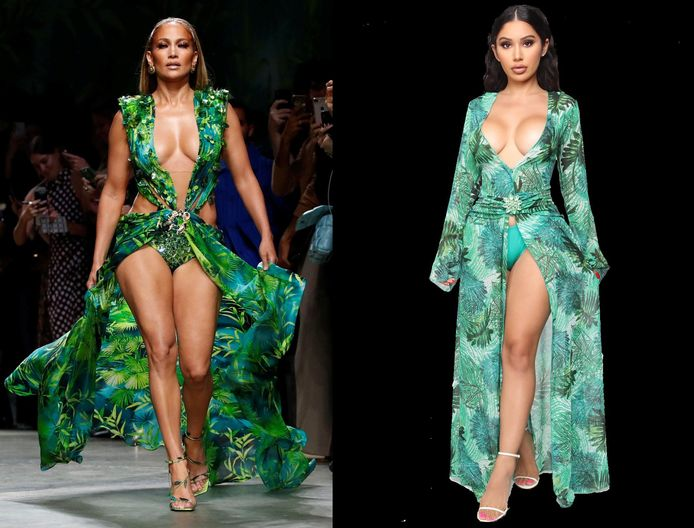 Links de jurk van Versace, rechts die van Fashion Nova.
