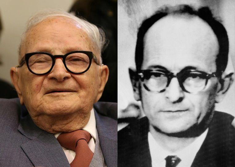 Rafi Eitan (links) tijdens een ceremonie 55 jaar na de terdoodveroordeling van Nazi Adolf Eichmann (rechts) in een rechtbank in Israël op 12 december 1961. Beeld AFP