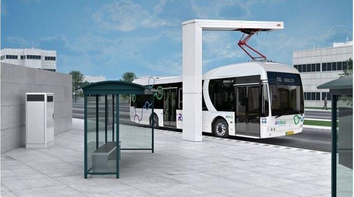 Zo komt de laadpaal voor bussen bij station Deventer eruit te zien.