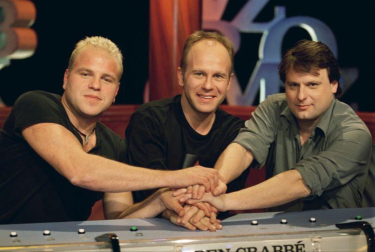 Luc De Vos, rechts, in het programma 10 voor Taal in 2001. Beeld anp