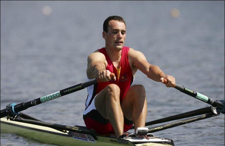 Tim Maeyens komt zondag in zijn vertrouwde skiff aan de start. Beeld UNKNOWN
