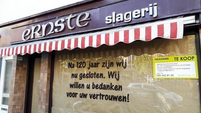Na 120 jaar is het doek gevallen voor paardenslager Ernste aan de Klarendalseweg in Arnhem.