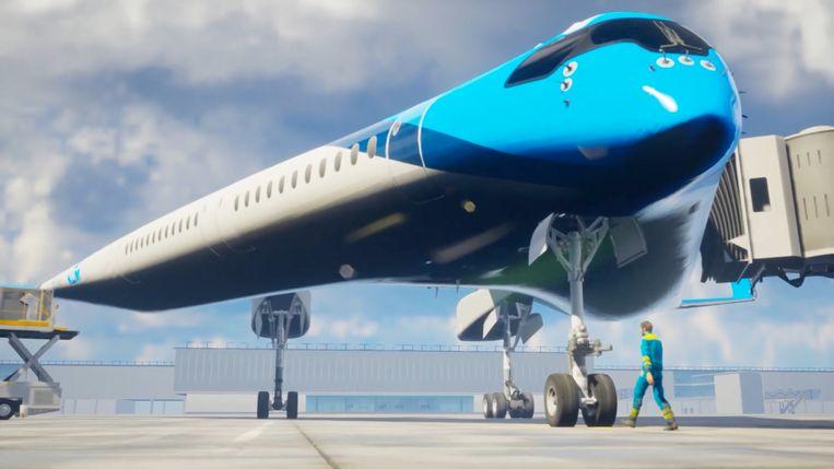 Artistieke verbeelding van de Flying-V, die in 2050 op Schiphol te zien zou moeten zijn. Beeld Edwin Wallet / Studio OSO