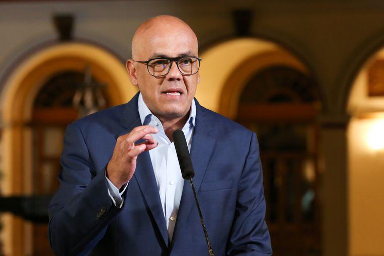 De Venezolaanse minister van Informatie en Communicatie Jorge Rodriguez. Beeld REUTERS