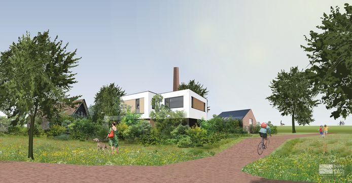 Een impressie van de villa's met op de achtergrond de schoorsteen.