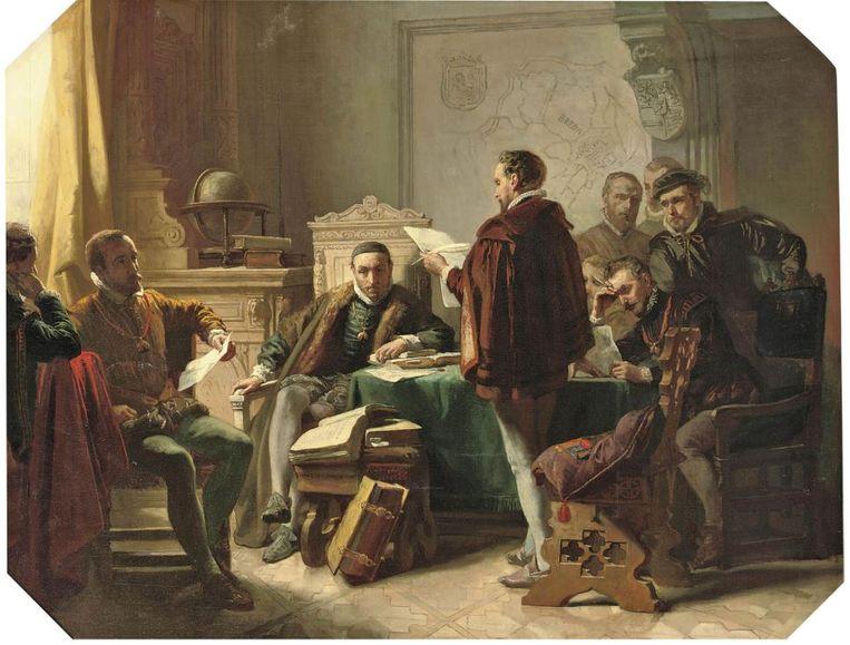 Marnix van  Aldegonde draagt het 'Wilhelmus' voor terwijl Willem de Zwijger luistert. Romantisch schilderstuk van Jacob Spoel (1850). Beeld Jacob Spoel