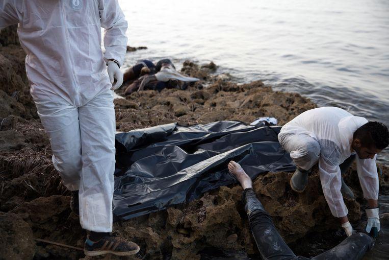 Leden van de Libische Rode Halve Maan halen de lichamen van aangespoelde migranten op in Tajoura, vorige week. Beeld epa