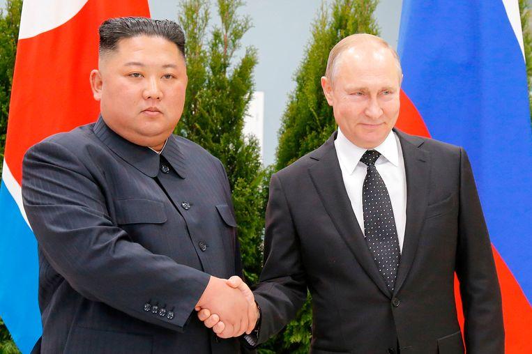 Poetin bedankte de Noord-Koreaanse leider Kim Jong-un voor zijn komst bij de start van hun gesprek.