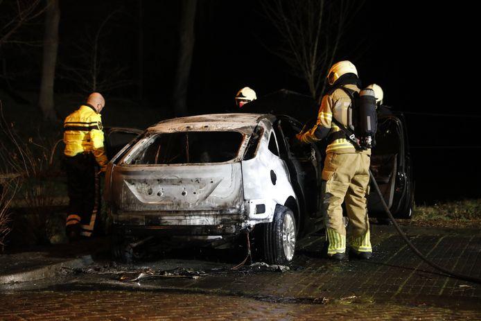 Brandweer en politie bij de uitgebrande auto in Willemstad.