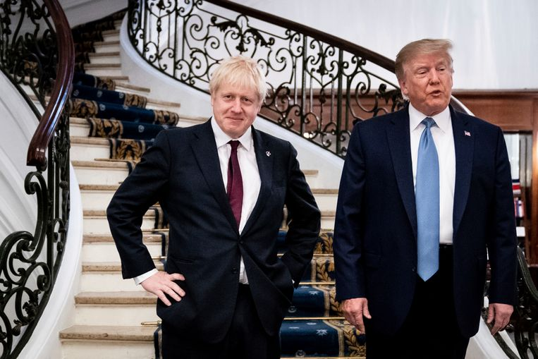 De Britse premier Boris Johnson en de Amerikaanse president Donald Trump op de G7-top in Biarritz.