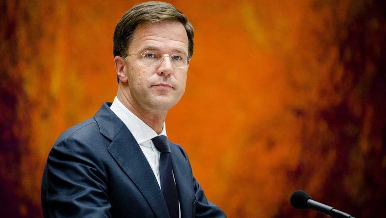Premier Rutte tijdens het debat over het nieuwe Griekse steunpakket Beeld anp