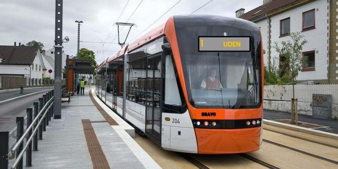 'Droomplaatje' van een lightrail in Uden. Nu zijn er bij D66 plannen gemaakt om ook tussen Tilburg en Den Bosch lightrail te laten rijden met een station in onder meer Helvoirt.