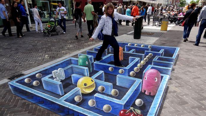 Pac-Man werd eerder al eens tot kunst verheven in deze 3D straattekening.