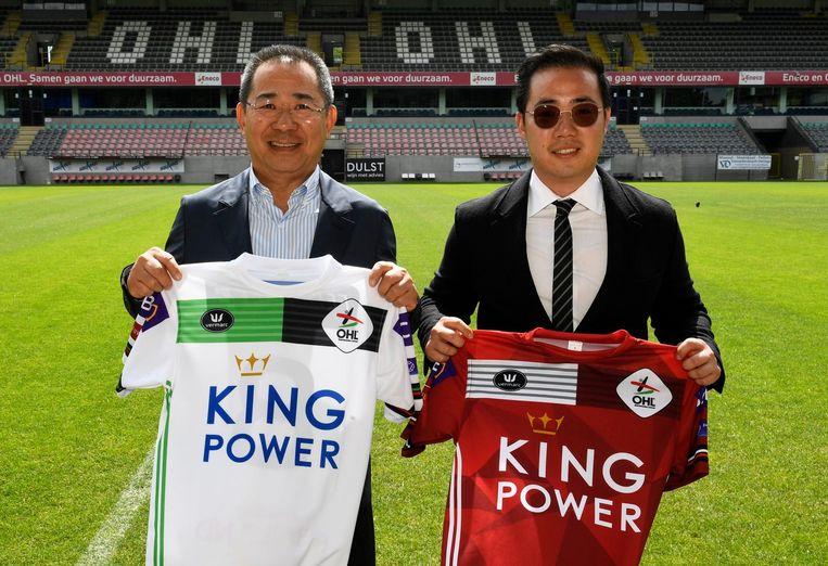 Vichai Srivaddhanaprabha en zijn zoon Aiyawatt strijken neer in OH Leuven. De sterke man van de Thaise King Power Group is al eigenaar van Leicester City. Beeld Photo News
