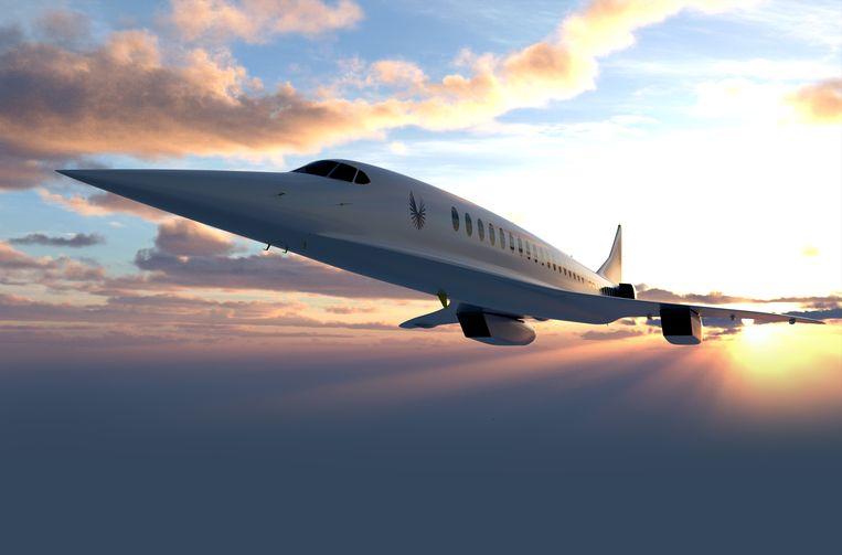 Illustratie van de Overture, een supersonisch passagierstoestel dat vanaf 2030 moet gaan vliegen.  Beeld Boom Supersonic