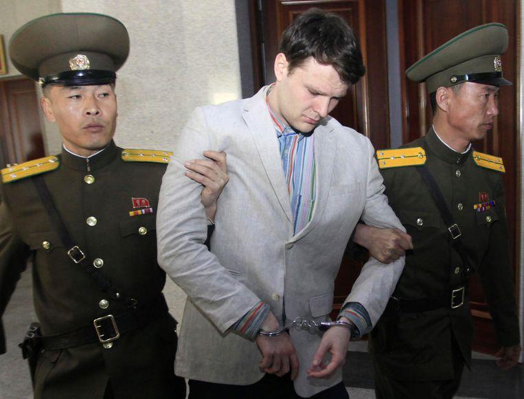 Warmbier bij zijn rechtszaak in Noord-Korea in het voorjaar van 2016.