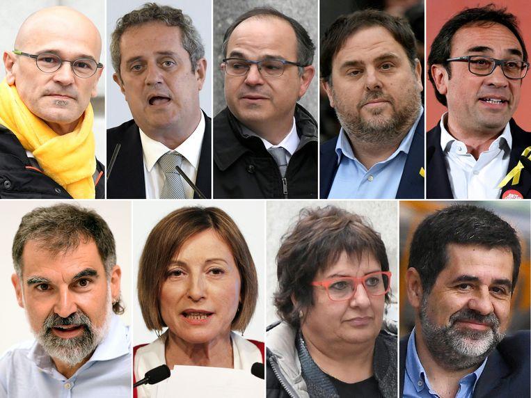 Raul Romeva, Joaquim Forn, Jordi Turull, Oriol Junqueras, Josep Rull, Jordi Cuixart, Carme Forcadell, Dolors Bassa en Jordi Sanchez. Beeld AFP