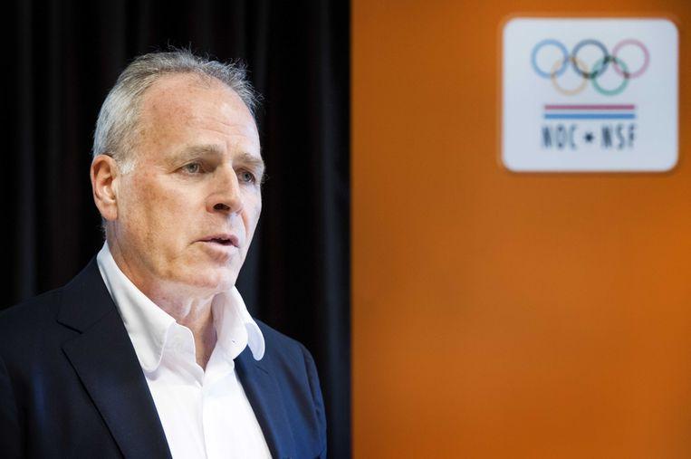 Gerard Dielessen, algemeen directeur van NOC-NSF, tijdens een persconferentie in sportcentrum Papendal.  Beeld ANP