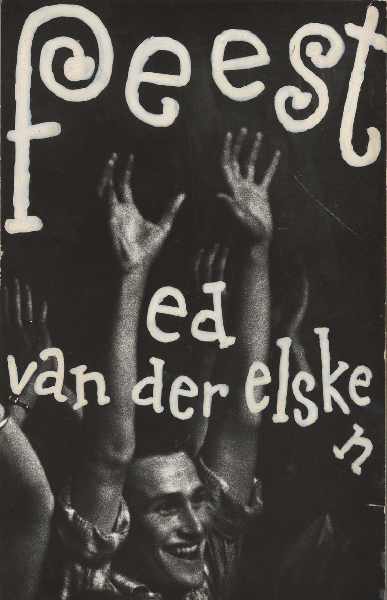 De omslag van het fotoboek Feest. Juichend publiek bij het concert van Louis Armstrong and His All Stars, in de veilinghallen in Blokker, 10 mei 1959. Beeld Ed van der Elsken