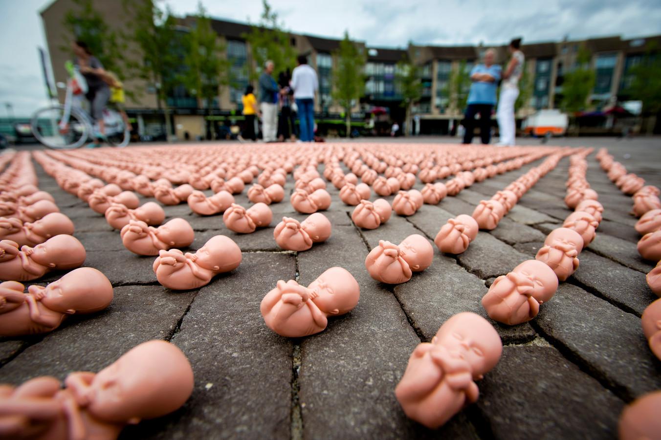 Een anti-abortusprotest van de christelijke organisatie Schreeuw om Leven. ANP ROBIN VAN LONKHUIJSEN