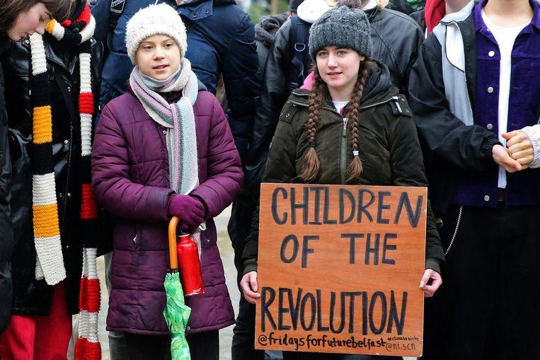 Greta Thunberg tijdens een protest in Brussel.  Beeld AFP