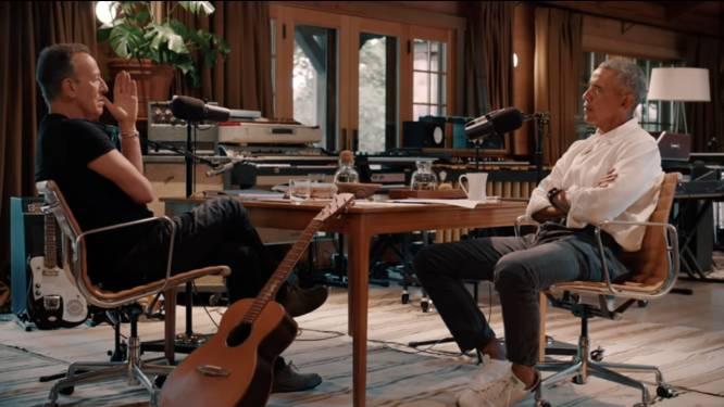 In gesprek met elkaar worden Barack Obama en Bruce Springsteen twee doodgewone mannen
