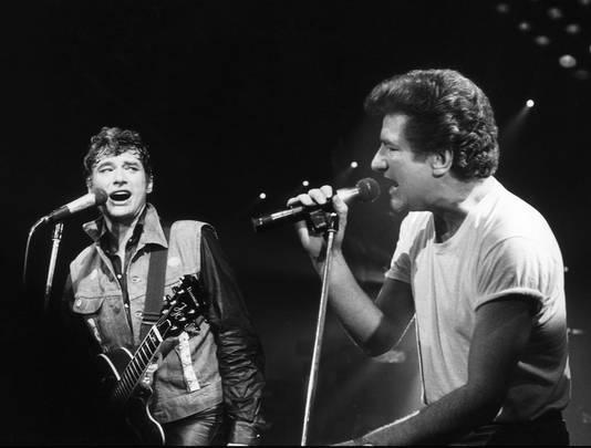 Johnny Hallyday et Eddy Mitchell: une amitié qui dure depuis plusieurs décennies. Ici, au Zénith, en 1985.