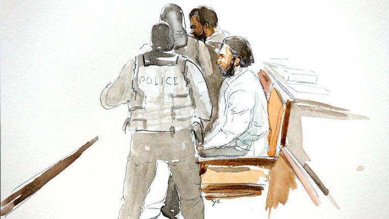 Salah Abdeslam bij een eerdere zitting op een rechtbanktekening. Beeld Reuters
