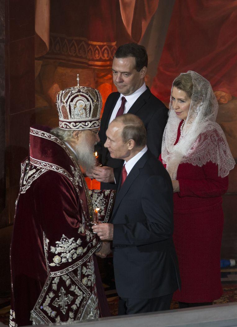 Patriarch Kirill geeft Poetin zondag het licht in Moskou. Beeld null