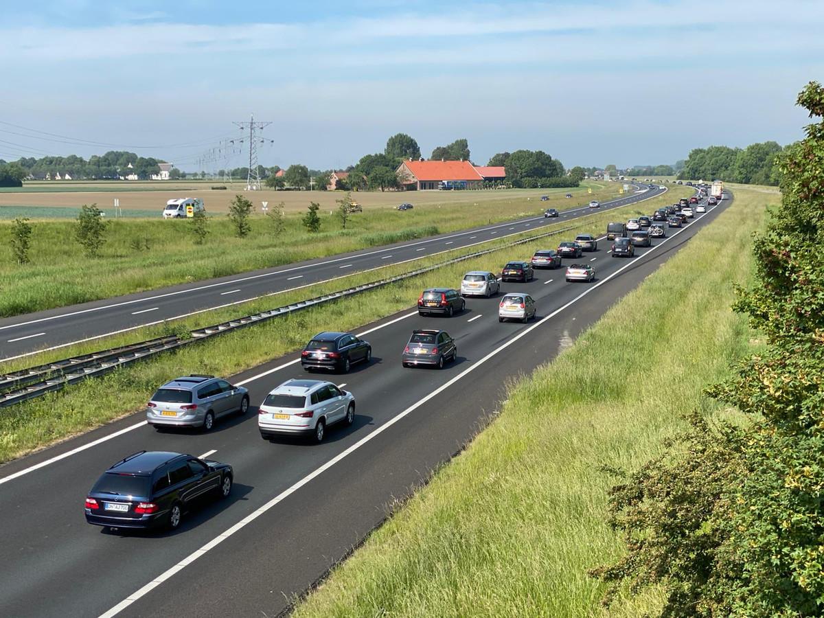 File op de snelweg A58 richting Vlissingen ter hoogte van Rilland.