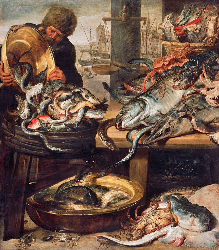 De Vismarkt inAntwerpen, olieverf op doek.Let op de kat onder tafel. Beeld RV