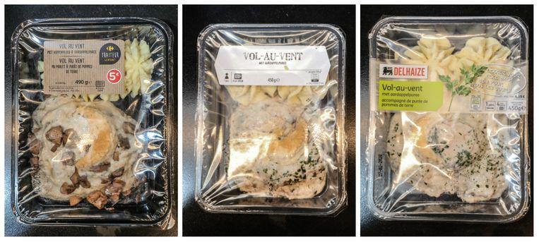 Vlnr: Vol-au-vent met aardappelpuree van Carrefour, Albert Heijn, Delhaize