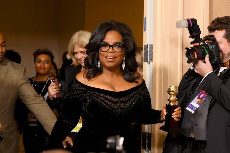 Oprah Winfrey tijdens de uitreiking van Golden Globes, die 7 januari plaatsvond. Beeld Getty Images