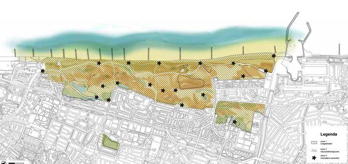Het Westduinpark met de speciale zones.