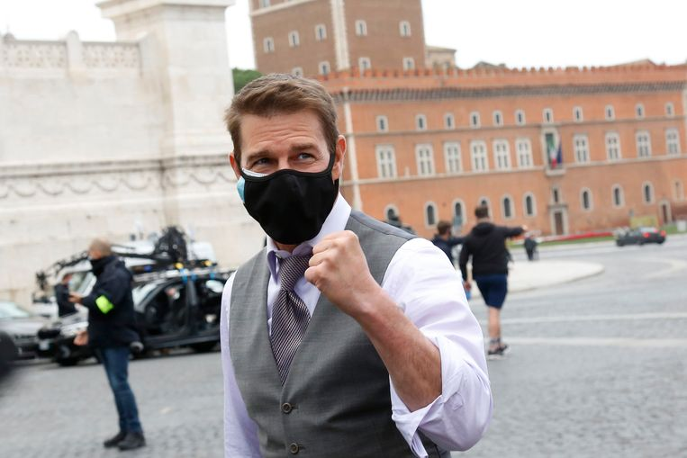 Tom Cruise op de set van Mission Impossible 7, in Rome op 29 november 2020. Beeld Mondadori Portfolio via Getty