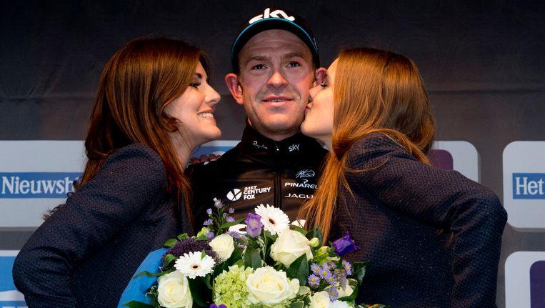 Ian Stannard na zijn overwinning van vorig jaar in de Omloop. Beeld BELGA