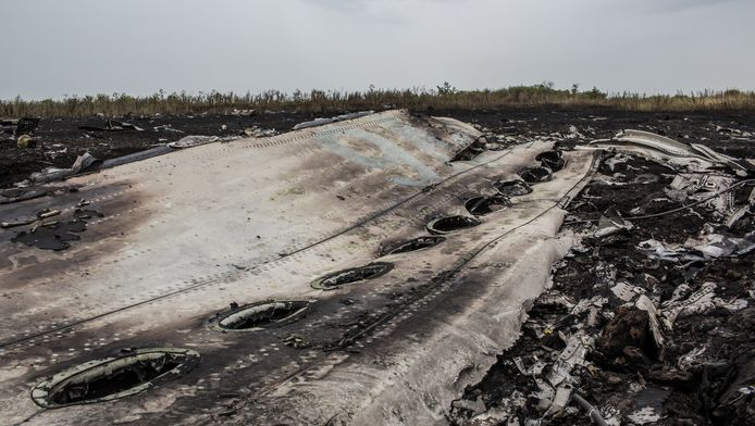 Wrakdelen van de neergestorte Malaysia Airlines Boeing liggen in een veld nabij Grabovka, Oekraïne.