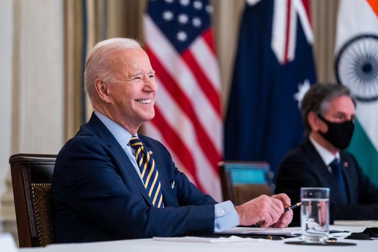 President Joe Biden en zijn buitenlandminister Antony Blinken in het Witte Huis in Washington. Beeld Photo News