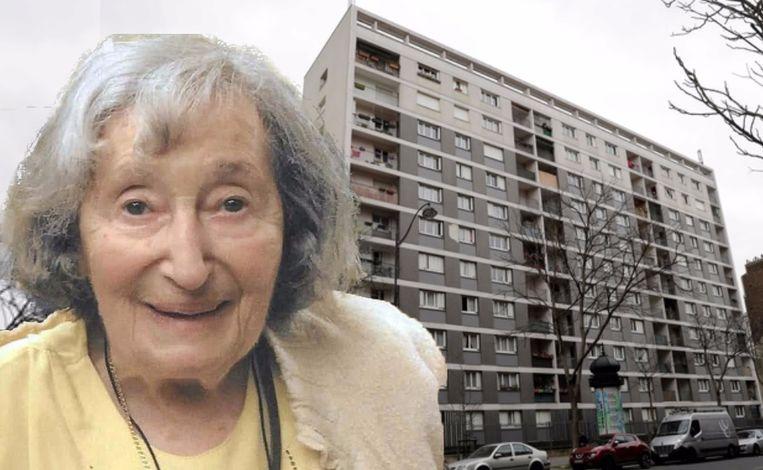 Het lichaam van Mireille Knoll (85) en haar appartement werden in brand gestoken.  Haar sociale woning ligt in een appartementsblok in het Parijse Elfde Arrondissement. (Fotomontage HLN)