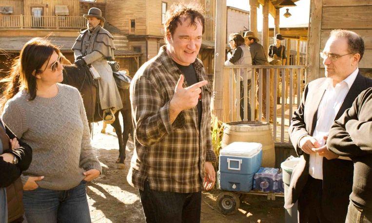 Quentin Tarantino op de set van 'Django Unchained'. Beeld Periscoop Film