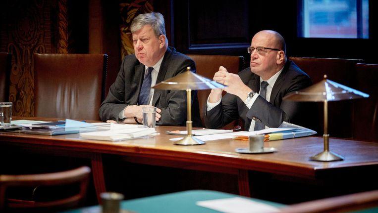 Opstelten en Teeven tijdens een debat in januari. Beeld anp
