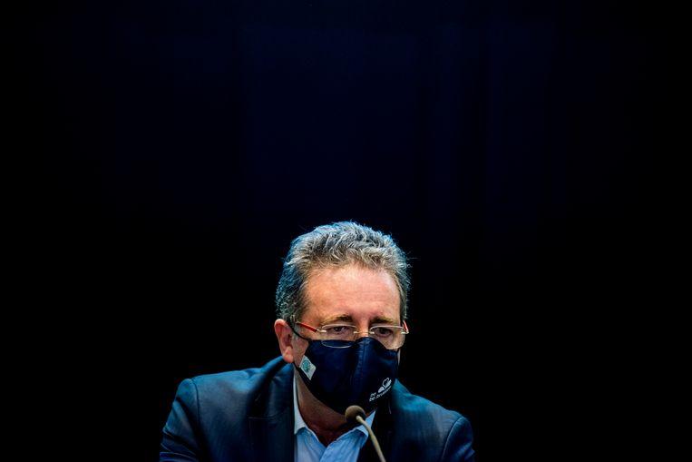 Rudi Vervoort op een meeting in Brussel. Beeld BELGA