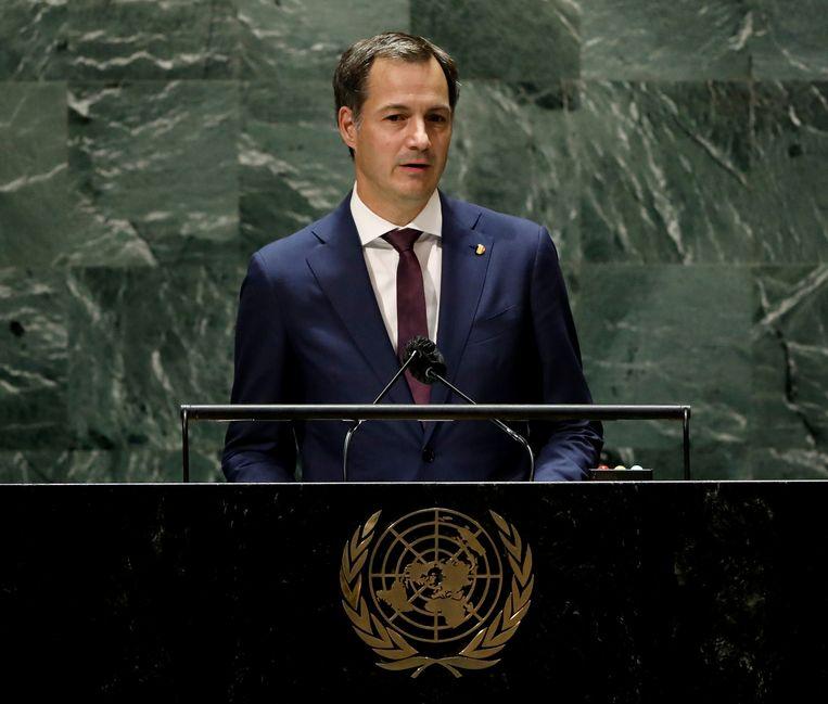 Premier Alexander De Croo spreekt de Algemene Vergadering van de VN toe. (24/09/2021) Beeld REUTERS
