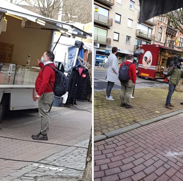 Op sociale media doken foto's van Marc Van Ranst op de Izegemse marktdag al snel op.