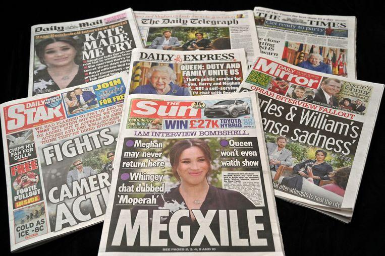 De Britse ochtendkranten na afloop van het interview. Beeld AFP