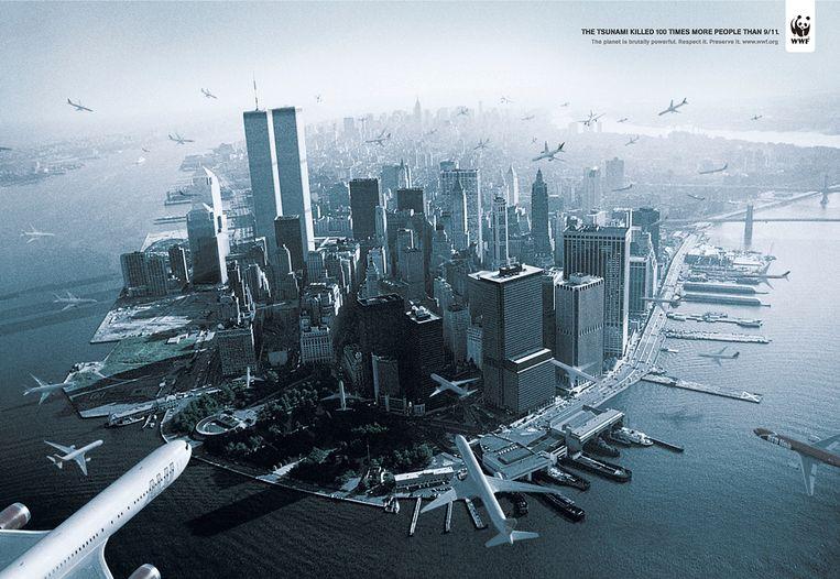 Campagne van WWF Brazilië voor steun voor de slachtoffers van de tsunami. Beeld RV