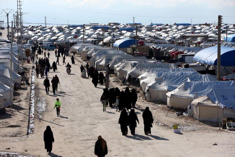 """Het Syrische kamp Al Hol. Gidwitz: """"Er bevinden zich alleen in dat kamp zo'n 70.000 tot 80.000 mensen, inclusief IS-gevangenen."""" Beeld REUTERS"""